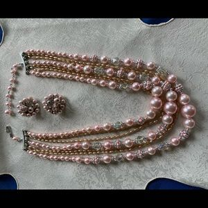 Jewelry - Multi-strand necklace with matching clip earrings